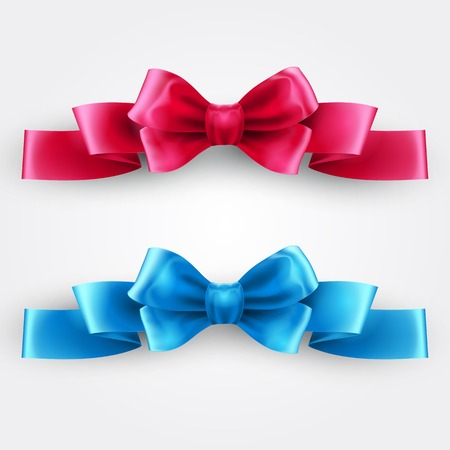 pink satin: Blue and pink holiday ribbon.