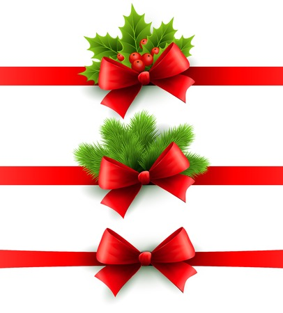 Red holiday ribbon with bow  Vector