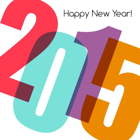 Happy new year greeting with number.  Vector illustration Vector