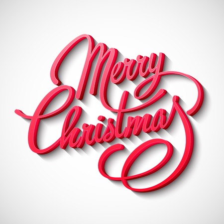Merry Christmas Lettering Design. Vector illustration. EPS 10 Vettoriali