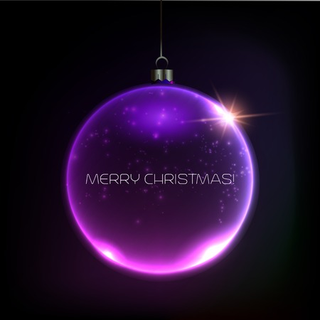 Merry Christmas Bauble greeting card. Vector illustration. EPS 10 Vector