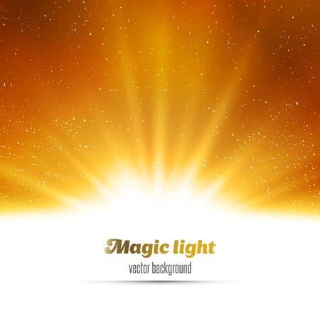 oro: Ilustración vectorial Resumen de oro mágica luz de fondo