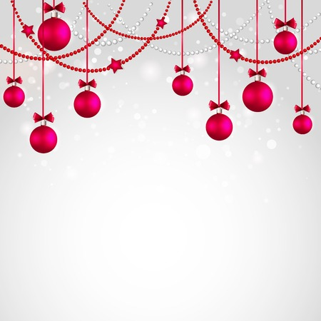 christmas bows: Merry Christmas tree greeting card wuth red bauble. Vector illustration.  Illustration