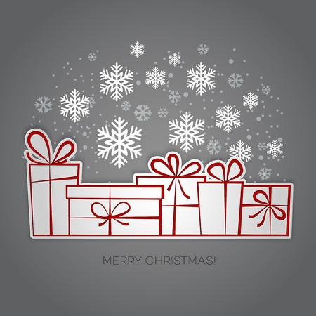 postcard box: Merry Christmas gift card. Paper design. Vector illustration. EPS 10 Illustration