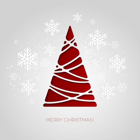 celebration card: Merry Christmas tree greeting card. Paper design. Vector illustration. EPS 10 Illustration