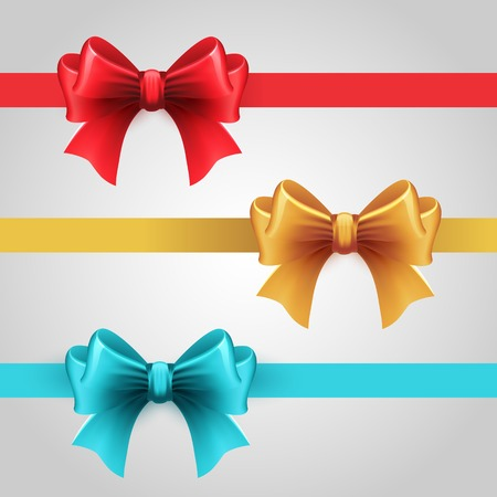 christmas bow: Vector Set of blue, Red and gold holiday ribbon with bow