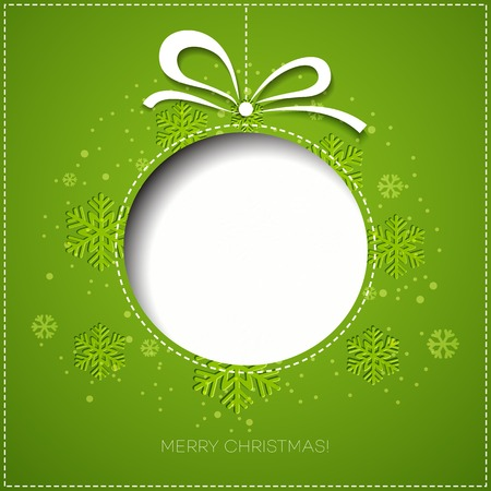 christmas card template: Merry Christmas tree greeting card. Paper design. Vector illustration. EPS 10 Illustration