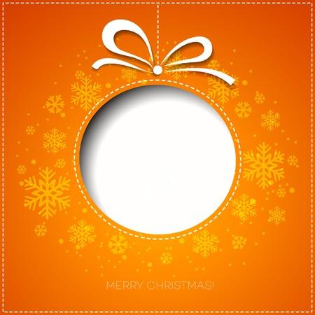 naranja arbol: Feliz tarjeta de felicitaci�n del �rbol de Navidad. Dise�o de papel. Ilustraci�n del vector. EPS 10