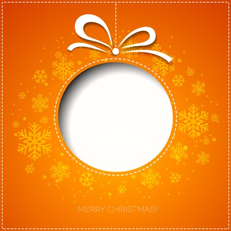 orange cut: Merry Christmas tree greeting card. Paper design. Vector illustration. EPS 10 Illustration