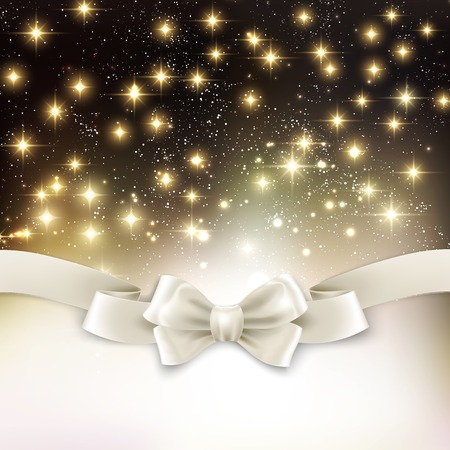 holiday light: Vector Holiday light Christmas background with white silk bow Illustration
