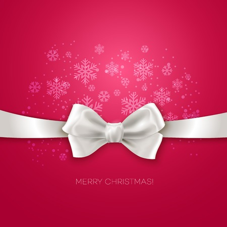 ribbon isolated: Pink Christmas background with white silk bow Vector illustration Illustration