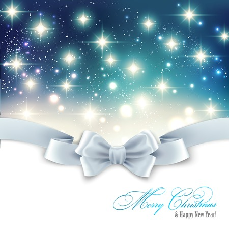 silk bow: Vector Holiday light Christmas background with white silk bow Illustration