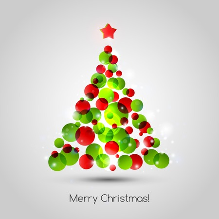 christmas red: Vector Merry christmas tree background. EPS 10
