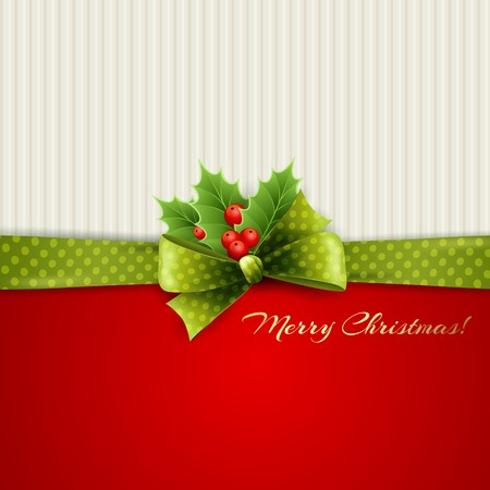 holly leaves: Christmas decoration with holly leaves and green polka dot bow