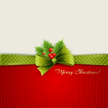 celebration card: Christmas decoration with holly leaves and green polka dot bow