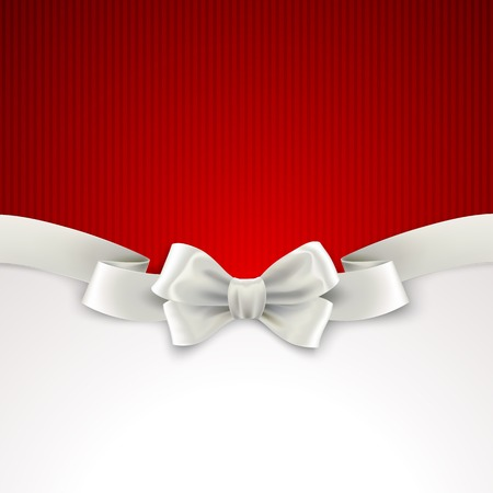 silk bow: Red Christmas background with white silk bow Vector illustration