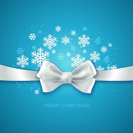 silk bow: Blue Christmas background with white silk bow Vector illustration