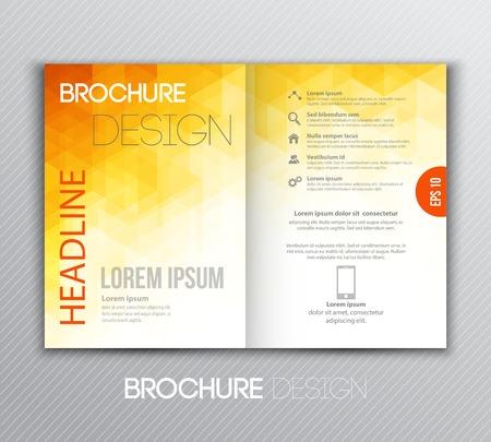 幾何学的な背景を持つベクトル イラスト抽象テンプレート パンフレット デザイン