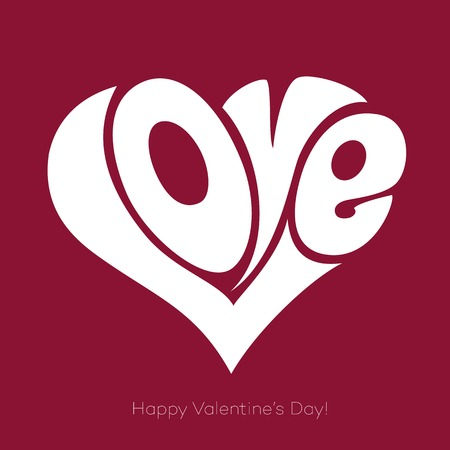 Valentines Card With Love Lettering. Happy Valentines Day Vector
