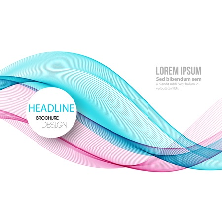 smooth curve design: Vector Abstract smoky waves  background. Template brochure design Illustration