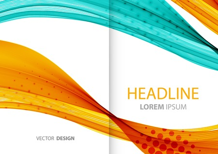 halftone cover: Vector Abstract color lines background. Template brochure design Illustration
