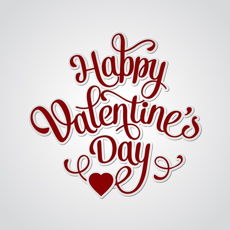 Happy Valentines Day Vintage Card With Lettering Vector