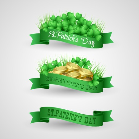 illustrationSet of Saint Patrick Day Banner with clover and coins Vector