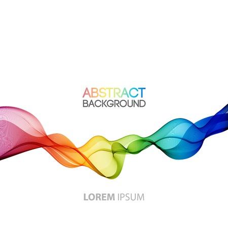 arco iris: Vector Resumen olas de humo de fondo. Diseño de folletos Plantilla
