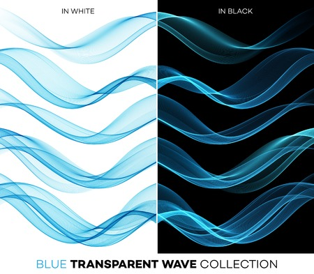 Vector Set of color transparent smoky wave