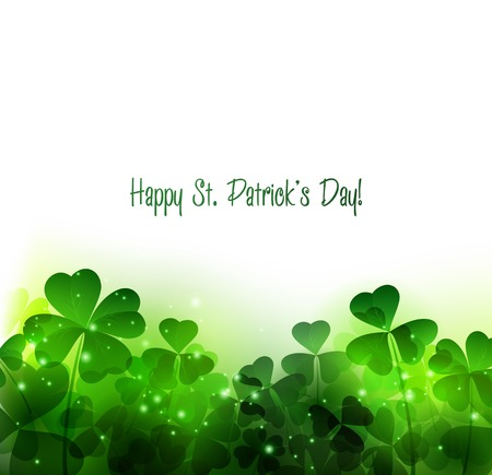 four: Vector Happy Saint Patricks Day Background with clover