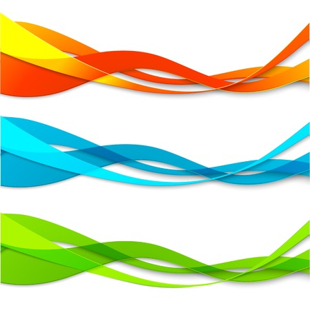 Vector Set of abstract color wavy lines for design brochure