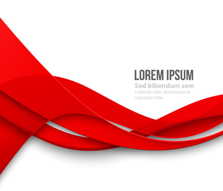 red wave: Vector Abstract Red paper curved lines background. Template brochure design Illustration