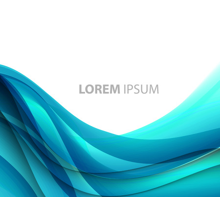 Vector Abstract blue curved lines background. Template brochure design Ilustração