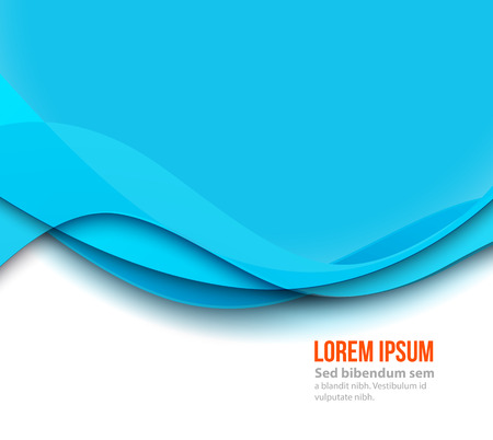 Vector Abstract Blue paper curved lines background. Template brochure design Ilustração