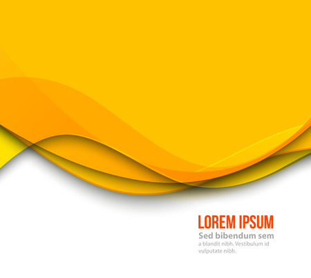 smooth curve design: Vector Abstract Yellow paper curved lines background. Template brochure design Illustration