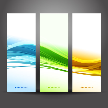 Vector illustration Collection banners modern wave design Ilustração