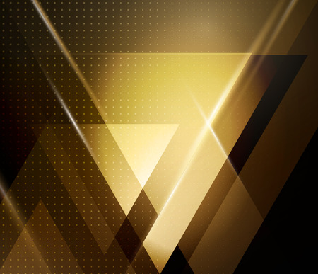 gold colour: Vector color abstract geometric banner with triangle shapes.