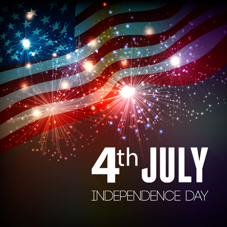 american flags: Fireworks background for 4th of July Independense Day