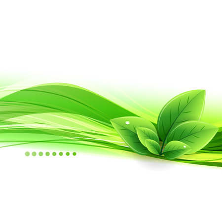 Vector Abstract nature background with green leaves Stock Illustratie