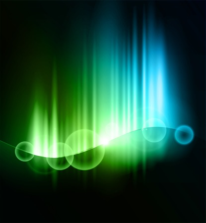 northern lights: Vector illustration Abstract dark background with shiny light lines Illustration