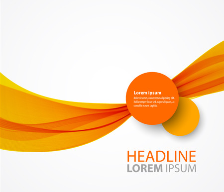 smooth curve design: Vector abstract orange wave background for flyer design