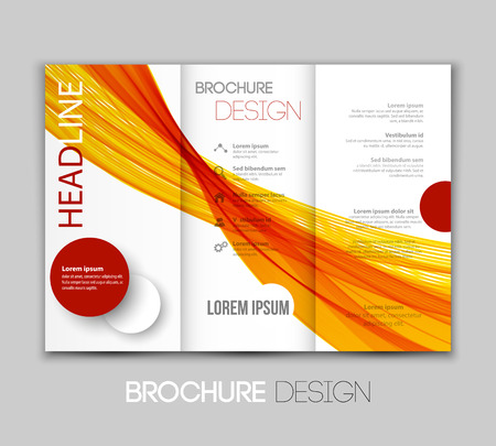 Vector illustration template leaflet design with color lines Vectores