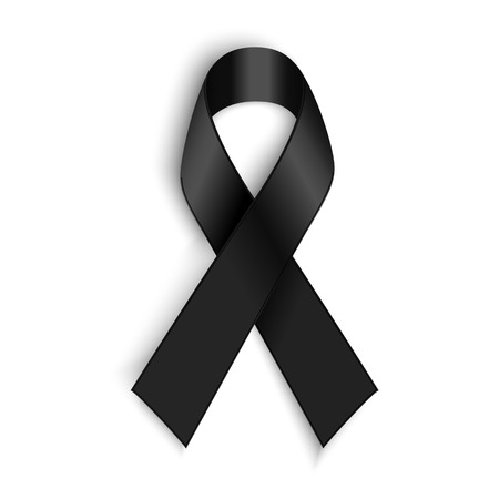 Vector Black awareness ribbon on white background. Mourning and melanoma support symbol. Vettoriali