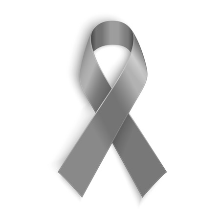 personality: Grey ribbon as symbol of borderline personality disorder diabetes asthma and brain cancer awareness Illustration