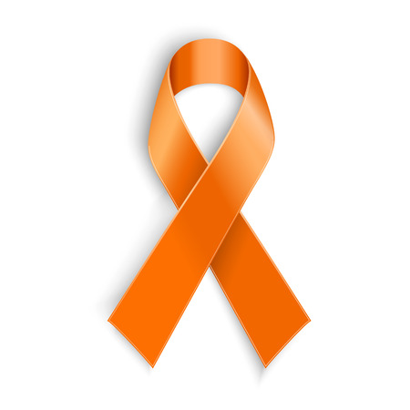 Vector Orange ribbon as symbol of Animal Abuse leukemia awareness kidney cancer association multiple sclerosis