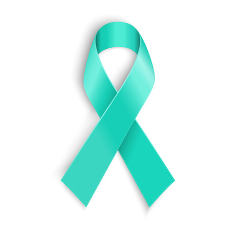 Teal ribbon. Symbol of scleroderma ovarian cancer food allergy tsunami victims kidney disease sexual assault