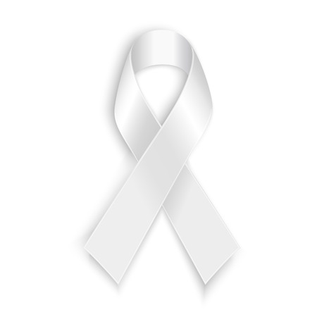 White awareness ribbon with shadow isolated on white background.