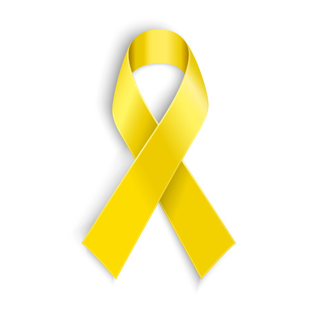 Vector Yellow awareness ribbon on white background. Bone cancer and troops support symbol Vectores