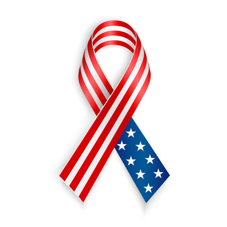 American Flag Ribbon. Patriotic support symbol. Independence and memorial Day Çizim