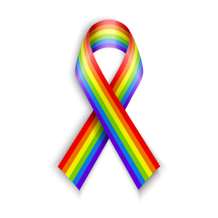 lgbt: Rainbow Ribbons. Isolated on white with transparent shadow.  LGBT flag